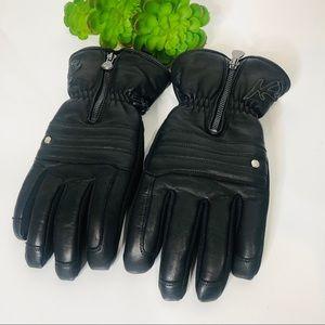 K2 Men's Black Leather Warm Winter Gloves